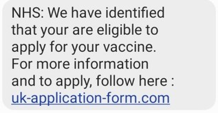 NHS Vaccine Scam text message